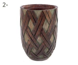 set di 2 vasi decorativi in legno naturale - 25x19 cm