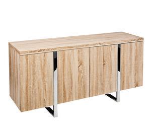 credenza in legno e metallo atlantia - 80x160x45 cm