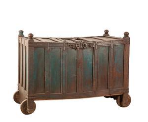 baule antico in legno di Shishan con rotelle - 107x138x74 cm