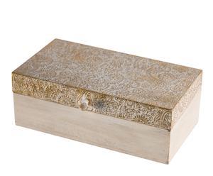 Scatola portagioie in legno goffrato Elegance - 8X21X12 cm