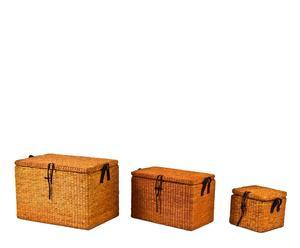 set di 3 bauli in fibra di mais rustico - max 65x43x43 cm