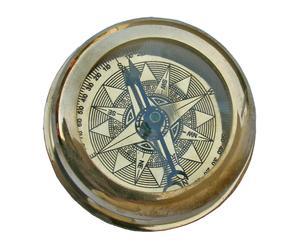 Bussola/fermacarte in ottone - D 6 cm
