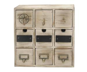 cassettiera a 9 cassetti in pino - 35x35x12 cm