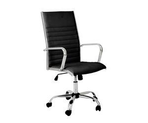 Sedia in metallo ed ecopelle con rotelle Nizza nero - 115x58x62 cm