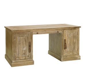 Scrivania in legno di mango a 2 ante Hamilton - 78X165X80 cm