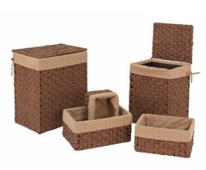 Set di 2 cesti portabiancheria e 3 cestini foderati in tessuto