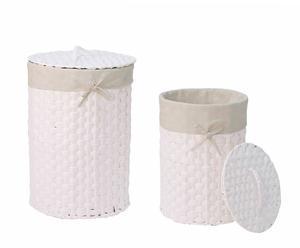Set di 2 cesti portabiancheria foderati in tessuto