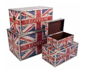 Set di 4 bauli in legno decorato - London