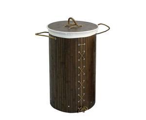 Cesta portabiancheria in bambu', legno e cotone Clean - 70x37 cm