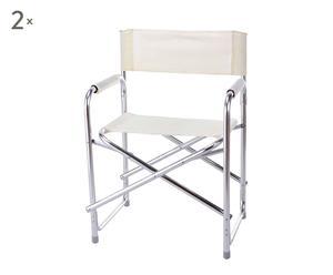 Set di 2 sedie da regista in alluminio e textilene bianco ALUTEX - 55x78 cm