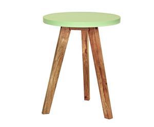 Sgabello in sheesham Jeyo verde - 50x40 cm