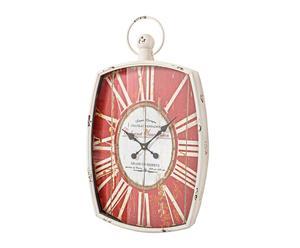 orologio da parete in ferro e mdf rosso cabernet - 50x87 cm