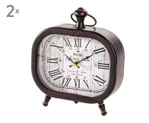 set di 2 orologi da tavolo in mdf nero chateaux - 23x20 cm