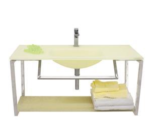 mobile bagno con lavabo in acciaio e vetro giallo ortensia - 100x50x47 cm