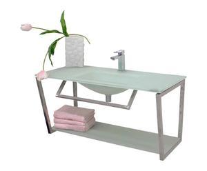 mobile bagno con lavabo in acciaio e vetro acqua ortensia - 100x50x47 cm