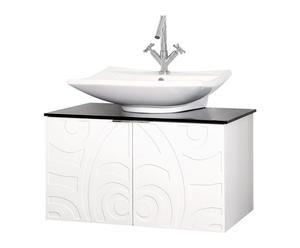 mobile bagno con lavabo in mdf e vetro bianco margherita - 70x95x47 cm