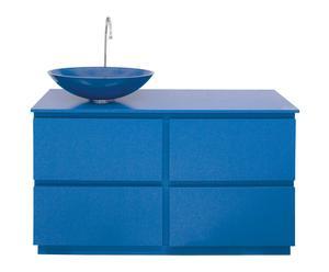 mobile bagno in mdf e vetro blu margherita - 120x90x47 cm