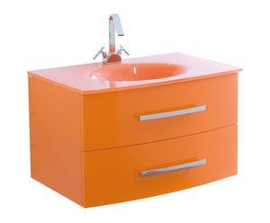 mobile bagno con lavabo in pvc e vetro arancio girasol - 80x46x52 cm