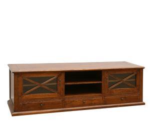 Mobile TV in legno a 2 ante e 3 cassetti - 55x179x55 cm