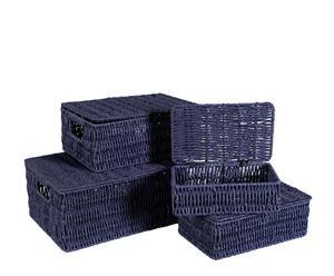 Set di 4 cesti in fibra vegetale Store blu