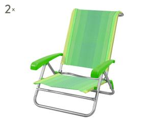 set di 2 sedie sdraio in alluminio playa - 60x90x40 cm