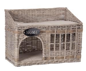 Cuccia in vimini con cuscini in lino Sweet Cat - 42x56x33 cm