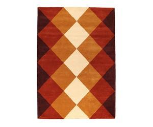 tappeto in lana arancione burgundy grid - 240x170 cm