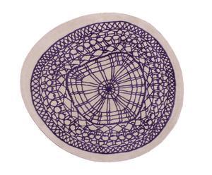 tappeto in lana beige e viola guipur small round - 120x128 cm