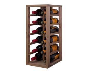 credenza per 12 bottiglie in pino naturale - 58x32x24 cm