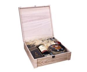 bauletto portabottiglie in legno naturale - 36x36x11 cm