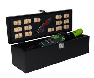 bauletto sommelier per 1 bottiglia con accessori in legno mogano - 36x11x