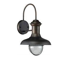 Lampada da parete in metallo e vetro Estoril marrone ossidato - 26x47x30 cm