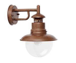 Lampada da parete in acciaio e vetro Rustic marrone - 26x23x26 cm