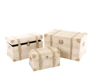 set di 3 bauli in similpelle Conial crema - max 34x56x38 cm