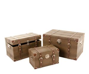 set di 3 bauli in similpelle Conial marrone - max 34x56x38 cm