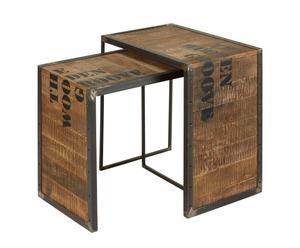 Set di 2 tavolini in legno e acciaio Industrial