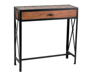 Consolle in legno e ferro battuto con cassetto - 80X80X25 cm