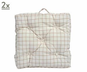 set di 2 cuscini per sedia check beige - 50x50x5 cm