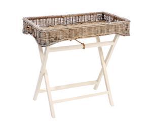 tavolino vassoio in legno e vimini banderas - 45x75x70 cm