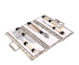 set barbecue in rattan con 6 accessori celine - 18x47 cm
