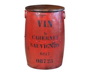Tavolino baule in metallo navy rosso - 73x48 cm