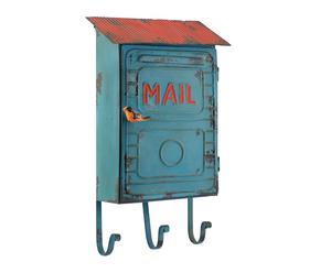 portachiavi da parete in metallo con 3 ganci mailbox azzurro - 42x24x12 cm