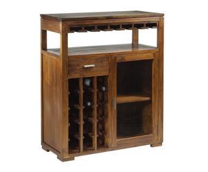 Mobile bar in legno a 1 cassetto, 1 anta e portabottiglie Forest - 110x90x40 cm