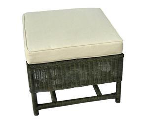 Pouf in rattan con cuscino in cotone Nicolas - 66x50x66 cm