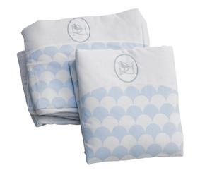 Set rivestimento per miniculla in cotone Matilde bianco e azzurro - 2 pezzi