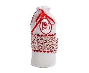 Sacchettino porta biberon in cotone Luz bianco e rosso - 20x2x8 cm