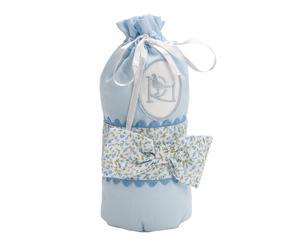 Sacchettino porta biberon in cotone Luz azzurro - 20x2x8 cm