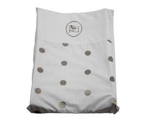 Cuscino per fasciatoio in cotone Mat bianco e argento - 65x13x50 cm