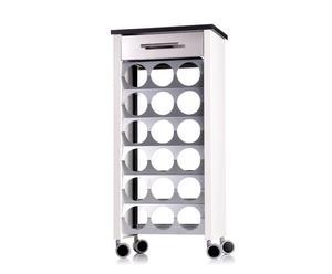 Carrello portabottiglie in acciaio con cassetto Clark argento - 43x93x30 cm