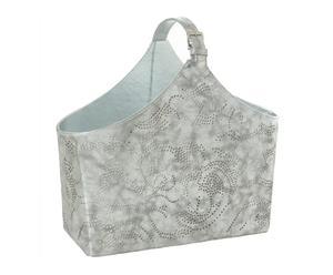 Portariviste in cartone e pelle sintetica Lily argento - 40x43x19 cm